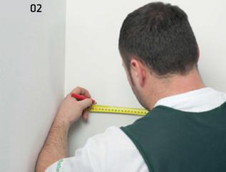 Montaż deski barlineckiej na ścianie - zaznaczenie łat na ścianach.